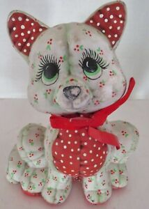 """Vintage Artisan Ceramic Cat- Made to look like Stuffed Quilted Cat  -7"""" T -1986"""