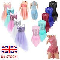 Girls Ballet Lyrical Dance Dress Kid Sequins Irregular Gym Dancewear Costume UK