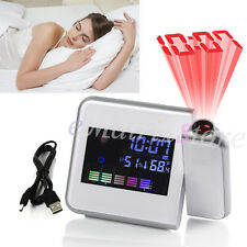 Digital LCD LED Time Projector Colorful Snooze Alarm Clock Weather Temperature
