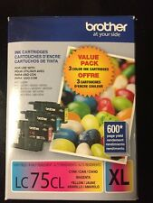 New Brother LC75CL XL Cyan Magenta Yellow Ink Cartridge OEM Genuine. Exp 4/2017