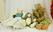 Vintage 1990's Plush Bunny Lot 1 Boyds 1 Charm Co 1 Hand Made