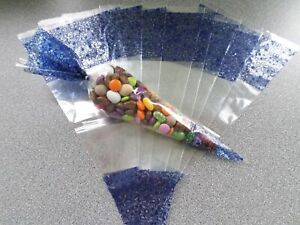 BLUE LARGE - CELLOPHANE CONE SHAPE PARTY BAGS - FAVOURS - SWEETS CANDY