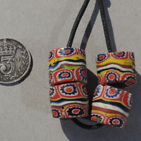 4 old antique venetian cylindrical millefiori african trade beads #4815