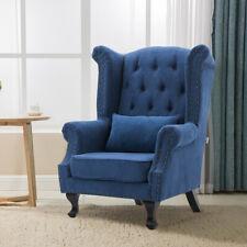 Chesterfield Lounge Chair Retro Wingback Studded Armchair Sofa Black Wood Legs
