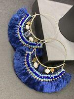 """Ladies Bohemian Boho Lapis lazuli  Large Hoop Crystal Tassel Pierced Earrings 4"""""""
