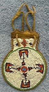 RARE NATIVE AMERICAN BEADED LEATHER MEDICINE POUCH BAG