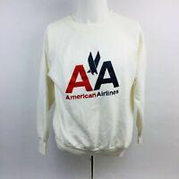 American Airlines Vintage Logo Sweatshirt Size Large White Long Sleeve VTG