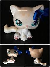 Littlest Pet Shop LPS Spotted White Tan Leopard Cat #224 Blue Eyes RARE Cream