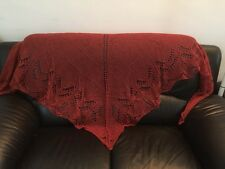 handknit 100% wool  lace scarf/stole/wrap in rust