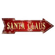 "Outdoor/Indoor Christmas Santa Claus Novelty Metal Arrow Sign 5"" x 17"""