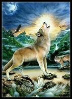 Howling Wolf - Chart Counted Cross Stitch Pattern Needlework Xstitch Craft DIY