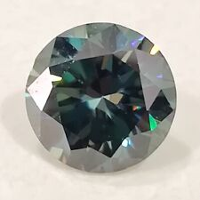 Round Cut Loose Moissanite Diamond For Ring 0.45 Ct 4.99x 3.12 Mm Vs1 Blue Green