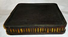 Wood and Bamboo Tabletop Candle Holder Tray - Black 10 x 10 x 1-3/4 inches