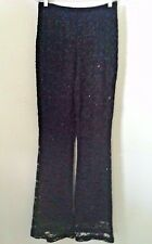 Vintage 90's pants black lace evening party club embellished bead size 4 tall