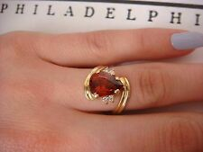 18K YELLOW GOLD MADEIRA CITRINE & DIAMONDS LADIES HIGH END RING, SIZE 7.5