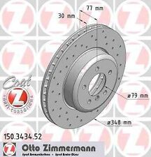 Disque de frein avant ZIMMERMANN PERCE 150.3434.52 BMW 5 E60 530d 218 231 235ch