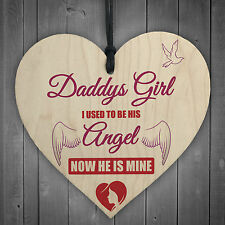 MEMORIAL Daddy's Girl Father's Day Gift Angel Wood Heart Dad Grandad Sign Grave