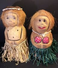 "Hawaiian Tiki Bar Luau Coconut Carved Monkey Dancers Dolls 15""-13"" Tall"