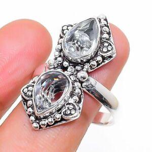 White Topaz Gemstone Ethnic Handmade Gift Jewelry Ring Size 10 Z798