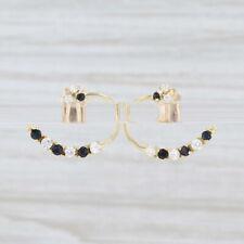Blue Sapphire CZ Heart Dangle Convertible Stud Earrings Pierced