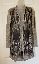 Women's Vocal Long Sweater Cardigan Black Gray With Rhinestones Size Large