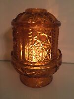 Fairy Lamp Indiana Glass Co. Amber Stars and Bars Votive Tea Light Candle Holder