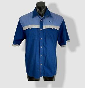 Men's BUFFALO CREEK S/S shirt size L 100% cotton classic fit blue colour block