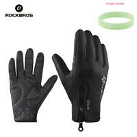 ROCKBROS Cycling Bike Gloves Thermal Warm Full Finger Touch screen Winter Black