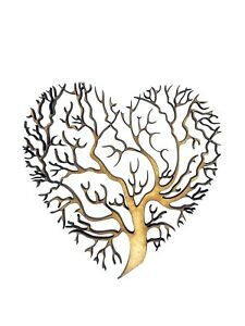 2x Heart Shape Tree Branches 7.5cm Wood Craft Embelishments Laser Cut Shape MDF