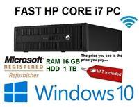 FAST 3.60 GHz Quad Core i7 PC 16GB RAM 1TB HDD WINDOWS 10 DVD HP COMPUTER