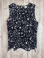 Women's CAbi Dixon Black White Abstract Floral Sleeveless Blouse Size Medium
