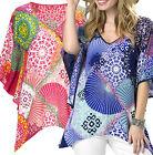 UK Size 6 - 20 Ladies Tunic Kaftan Top in Blue or Pink - plus sizes
