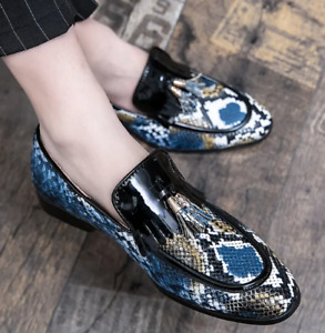 Mens Loafers Slip-on Shoes Oxfords Tassel Pumps Nightclub Printed Trendy Casual