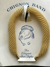 Vintage Hair - 1950's Gold Sparkle Fabric Chignon Band - Made in England