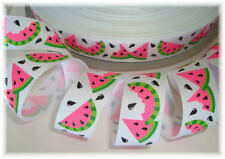7/8 OH SO WACKY WATERMELON GROSGRAIN RIBBON SEEDS 4 HAIRBOW BOW WHITE
