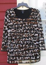 ALFANI Brown/Black Animal Print 3/4 Sleeve Layered Chiffon Lined Blouse Large
