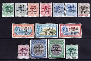 BAHAMAS GVI 1942 SG162/75a set 14 opt 'LANDFALL....' lightly mounted mint cat£80