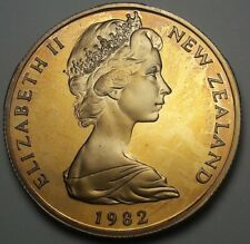 1982 NEW ZEALAND 50 CENTS PROOF BU UNC BEAUTIFUL COLOR TONED COIN