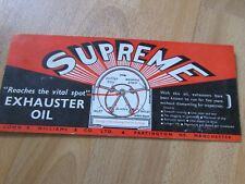 SUPREME Exhauster Oil by John S Williams Partington Manchester 1930's Blotter