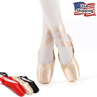 Nexete Professional  Pointe Ballet Shoes For Girl Women Pink Black & Red