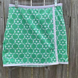 FAIRWAY & GREENE Women's size 8 Green White Faux Wrap Cotton Stretch Golf Skort