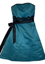 Jessica McClintock for Gunne Sax Turquoise Blue strapless cocktail / prom 3 / 4
