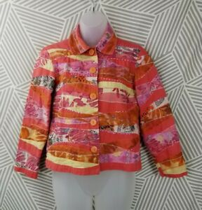 Coldwater Creek Size XS Petite Floral Jacket Blazer Colorful career patchwork