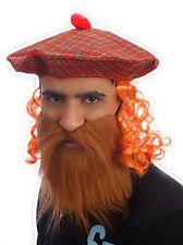 Hombre Escocés Escocia Tam O Shanter Naranja Pelo Sombrero de tartán + Bigote