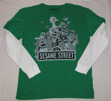 SESAME STREET MENS T-SHIRT BEANIE HAT LONG SLEEVE NEW!!