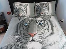White Tiger Blue Eyes Quilt Cover 180cm x 210cm Double Full 2 Pillowcases 3 Pcs
