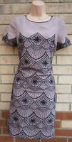 MONSOON TAUPE DUSTY PINK BLACK EMBROIDERED SHIFT BODYCON PARTY DRESS 12 M