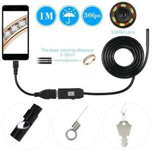 WATERPROOF 1M 7MM ENDOSCOPE USB INSPECTION CAMERA 6 LED FOR OTG SMART PHONE