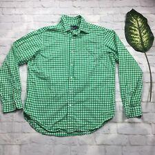 American Living Mens Green Plaid Long Sleeve Button Up Shirt Size L 100% Cotton