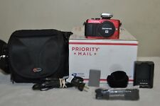 Olympus Pen Lite E-PL6  Red Color (Body Only) + Extras, 1091 Clicks! **MINT**